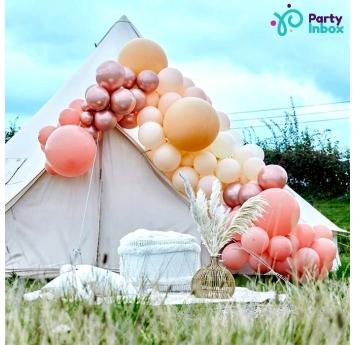 """Balionų girlianda-arka """"Pasidaryk pats"""", persikinės-rožinio aukso spalvos (205  balionų)"""
