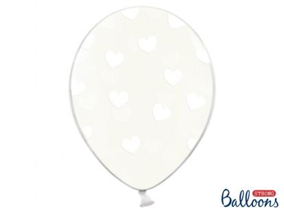 Õhupall, läbipaistev - valgete südametega (30 cm)