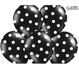 Õhupall, must - täpiline (30 cm)