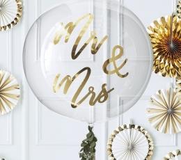 """Õhupall-orbz """"Mr&Mrs"""", läbipaistev kuldse kirjaga (91 cm) 1"""
