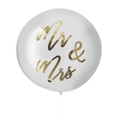 """Õhupall-orbz """"Mr&Mrs"""", läbipaistev kuldse kirjaga (91 cm)"""
