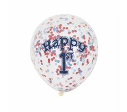 """Õhupallid """"1-ne sünnipäev"""" punaste-siniste konfetidega."""