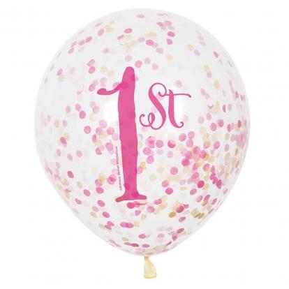 """Õhupallid """"1-ne sünnipäev"""",  roosad konfetidega (6 tk )"""