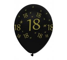 """Õhupallid """"18"""", kuldne-mustaga (6 tk.)"""