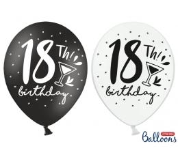 """Õhupallid """"18th Birthday"""", must-valge (6 tk./30 cm)"""