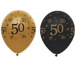 """Õhupallid """"50"""", kuldne-mustaga (6 tk.)"""
