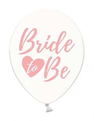 """Õhupallid """"Bride to be"""" läbipaistev-roosa (6 tk./30 cm)"""