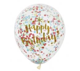 """Õhupallid """"Happy Birthday"""" läbipaistvad värviliste konfettidega"""", (6 tk./30 cm)"""