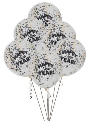 "Õhupallid ""Happy New Year"" konfettidega (6 tk.)"