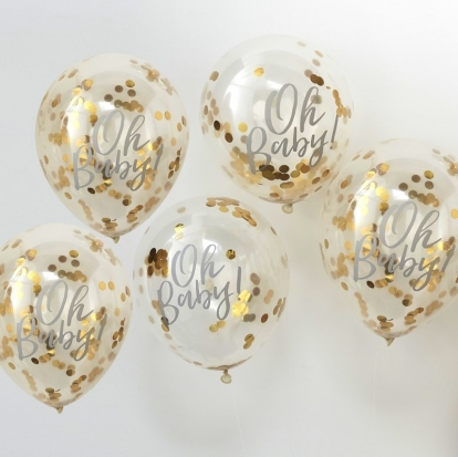 """Õhupallid kuldsete konfettidega """"Oh Baby"""" (5 tk./30 cm)"""