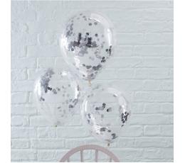Õhupallid, läbipaistvad hõbedaste konfettidega (5tk./30 cm)