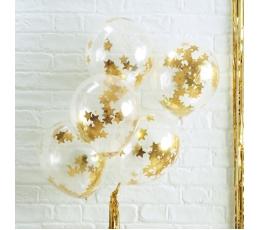 Õhupallid, läbipaistvad kuldsete tähekestega konfetid (5 tk./30 cm)