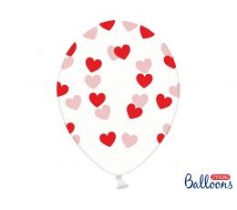 Õhupallid, läbipaistvad punaste südamete konfettidega (6 tk./30 cm)