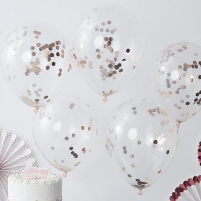 Õhupallid, läbipaistvad roosakas -kuldsete konfettidega (5 tk./30 cm)
