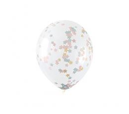 Õhupallid, läbipaistvad tähekese kujuliste konfettidega (5 tk./30 cm)