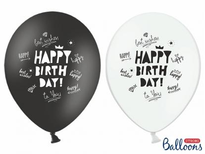 "Õhupallid, must-valged ""Happy Birthday"" (6 tk.)"