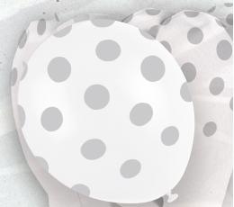 Õhupallid , täppidega hõbedased (6 tk/30 cm)