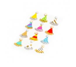 """3D kleepsud """"Sünnipäeva mütsikesed"""" (12 tk./3 cm)"""