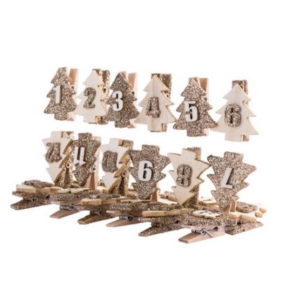 """Advendikalendri pesulõksud """"Kuldsed jõulupuud"""" (3,5 cm)"""