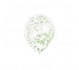 Õhupallid, läbipaistvad heleroheliste konfettidega (6 tk.)