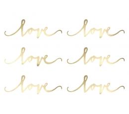 """Dekoratsioonid """"Love"""", kuldsed (6 tk.)"""