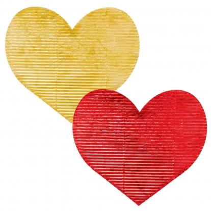 Dekoratsioonid - südamed, lainelised, punased/kuldsed (20 tk./7 cm)