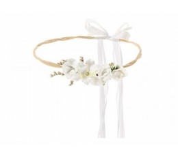 Dekoratiivne kroon valgete lilledega (18 cm)