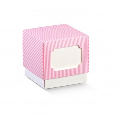 Karp kaanega, roosa triibuline (9x9x9 cm)