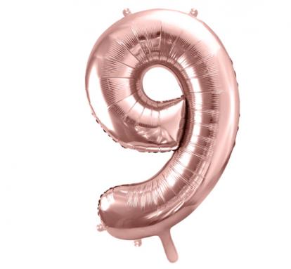 """Fooliumist õhupall number """"9"""", roosalas kuldne (85 cm)"""