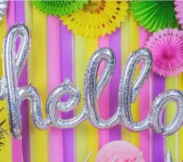 """Fooliumist õhupallide komplekt """"Hello"""", holograafiline 1"""