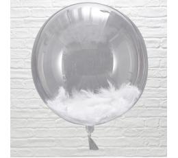 Foolium õhupallid-orbz, läbipaistvad-valgete sulgedega (3 tk./45 cm)