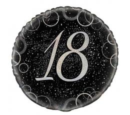 """Fooliumist õhupall """"18"""", must hõbedaga (45 cm)"""