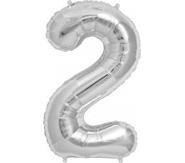 """Fooliumist õhupall """"2"""", hõbedane (85 cm)"""