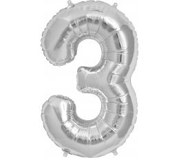 """Fooliumist õhupall """"3"""", hõbedane (85 cm)"""