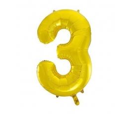 """Fooliumist õhupall """"3"""", kuldne (85 cm)"""