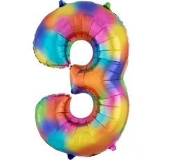 """Fooliumist õhupall """"3"""", vikerkaare värvi (85 cm)"""