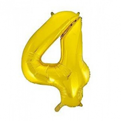 """Fooliumist õhupall """"4"""", kuldne (85 cm)"""