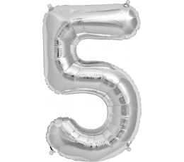 """Fooliumist õhupall """"5"""", hõbedane (85 cm)"""