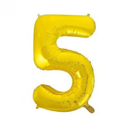 """Fooliumist õhupall """"5"""", kuldne (85 cm)"""