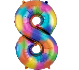 """Fooliumist õhupall """"8"""", vikerkaare värvi  (86 cm)"""