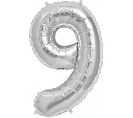 """Fooliumist õhupall """"9"""", hõbedane (85 cm)"""