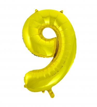 """Fooliumist õhupall """"9"""", kuldne (85 cm)"""