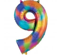 """Fooliumist õhupall """"9"""", vikerkaare värvi (86 cm)"""