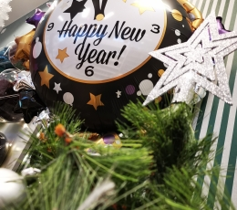 "Fooliumist õhupall ""Happy New Year- kell"" (76x88 cm) 1"