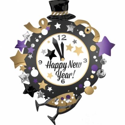 "Fooliumist õhupall ""Happy New Year- kell"" (76x88 cm)"