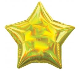 """Fooliumist õhupall """"Kollane täht, holograafiline"""