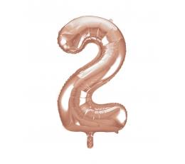 """Fooliumist õhupall -number """"2"""", roosakas kuldne (66 cm)"""