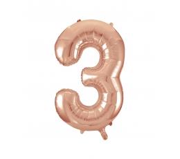 """Fooliumist õhupall -number """"3"""", roosakas kuldne (85 cm)"""