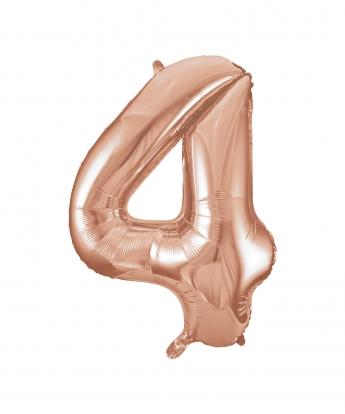 """Fooliumist õhupall -number """"4"""", roosakas kuldne (85 cm)"""