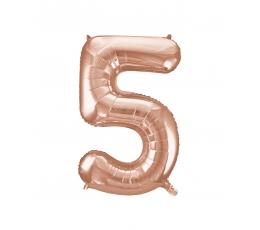 """Fooliumist õhupall -number """"5"""", roosakas kuldne (85 cm)"""